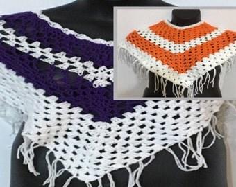 Ladies crocheted  Poncho white stripes