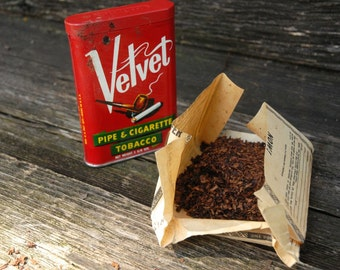 Velvet Pipe and Cigarette Tobacco Tin