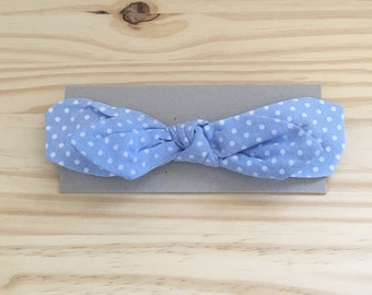 Light blue polka dot baby/toddler headband