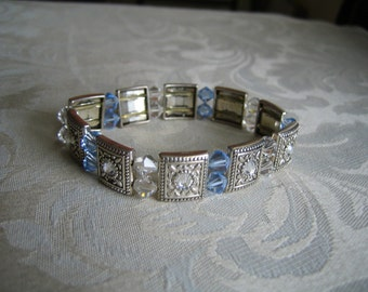 Swarvoski Blue & White Crystal Stretch Bracelet