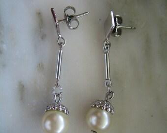 Vintage 1960's Silver Tone & Imitation Pearl Dangle Pierced Earrings