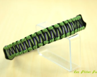 Braided adjustable dog collar Green Khaki and black