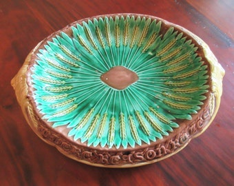Wheat pattern majolica platter