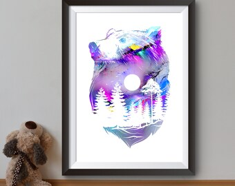 Bear Art Poster - Forest Silhouette Print - Night Forest Illustration - Colorful Wall Art - Home Decor
