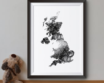 Britain Map Print - Art Poster - United Kingdom Illustration - Wall Art - Home Decor