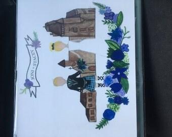 Custom made illustrated invitations