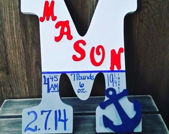Personalized wooden nursery initial  with baby's name and birth info! Perfect for newborn! Nautical Theme