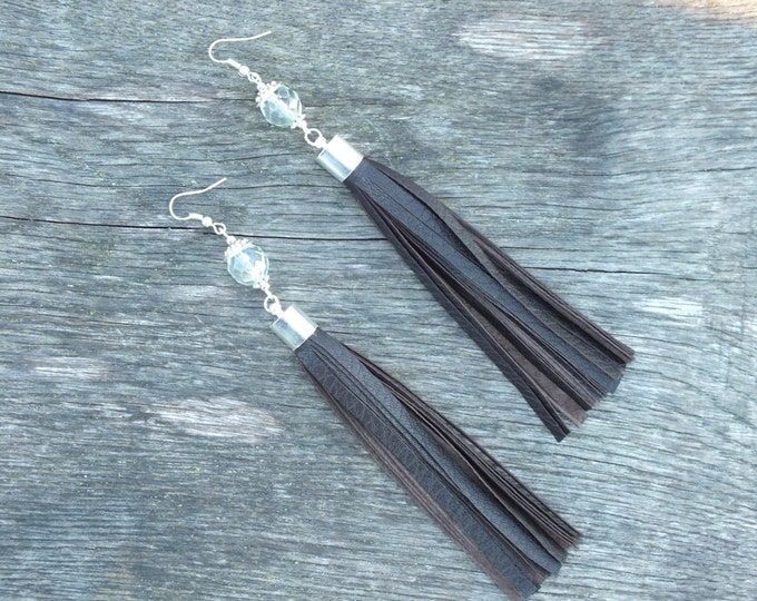 Leather Fringe earrings, christmas gift, tassel earrings, long earrings, Drop Earrings, Dark brown earrings,Dangle Earrings,silver ear hooks