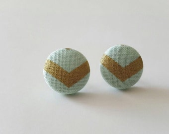 Mint green and gold chevoron earrings