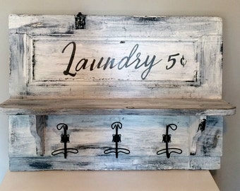 "Upcycled ""Laundry""sign with shelf and hooks"