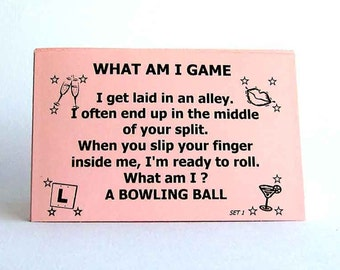 What am I? innuendo riddle game cards