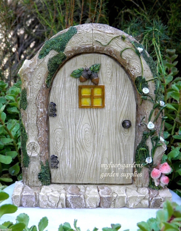 Miniature dollhouse fairy garden gnome resin charming for Outdoor fairy doors australia