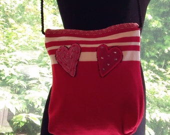 Hearts and Stripes Red Sweater Bag