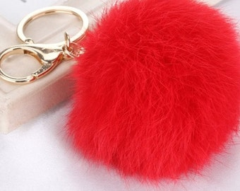 8 cm Red Fur Pom Pom Key Chain