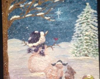 Snowman & Friends Canvas Painting