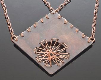 Copper Diamond Dream Catcher Necklace