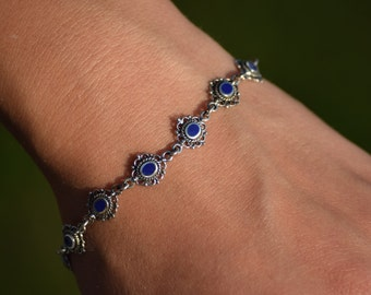 925 Sterling Silver Bracelet with Lapis Links
