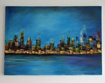 Original oil painting - Abstract Skyline