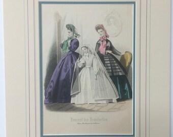 Antique Fashion Print, Journal des Demoiselles Print, Communion Gown, Hand-colored Print, Fashion Plate, 1800s French Fashion