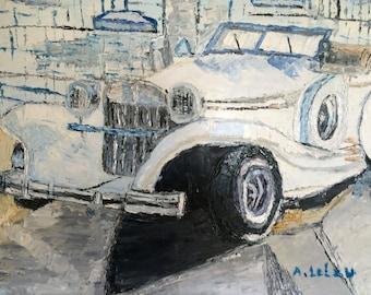 A beautiful American car. Original painting. Oil painting. Stretched canvas ready to hang.
