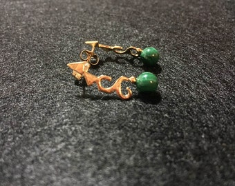 Small Malachite Vermeil Earrings