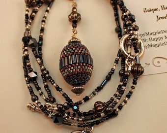 "Beaded Bead Convertible Necklace/Bracelet Set - ""Gunmetal"""
