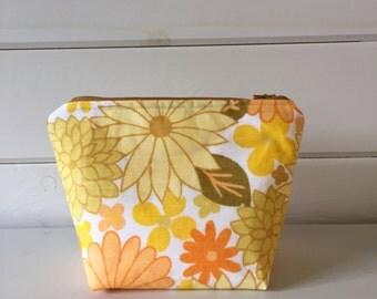 Handy Cosmetics bag in Sunshine Yellow Vintage Fabric, Make-up bag in Original Vintage Fabric