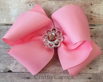 Pink Hair Bow with Bling Center