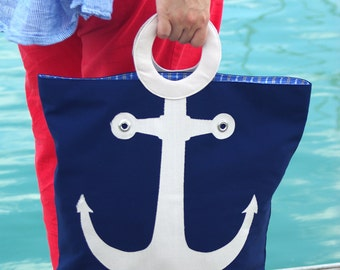 beach bag, nautical bag, summer bag, large beach bag, anchor bag