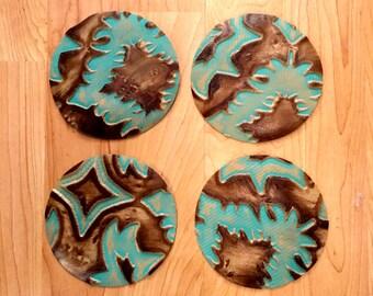 Genuine Leather Coasters Laredo Pattern