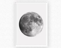 Moon Print, Moon Photo, Planet Wall Art, Instant Download, Moon Photography, Moon Printable Art, Space Wall Art, Moon Art, Moon Poster