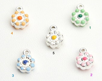 Flower Charms, Glazed Charms, Sterling Silver 925, Italian Handmade Fashion, Funny Charms, Lucky Charms, Jewelry Supplies 9970