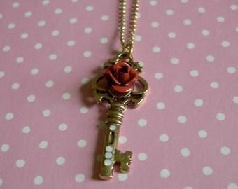 Gold Rose Key Necklace