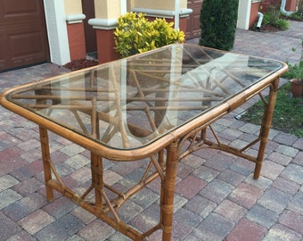 Vintage Chinese Chippendale Rattan Dining Table