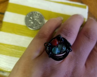 Black bird nest ring