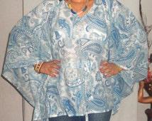 Plus size poncho blue maternity top,nursing kaftan top , pregnancy top , beachwear, resortwear, spawear,dress,beach cover up, plus size wear