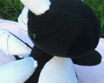 Black and White Dragon Plushie