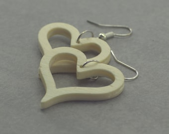 Heart Stud Earrings made of wood without paint