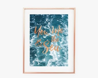 You me & the Sea Faux Copper Art Print - Instant Digital Download