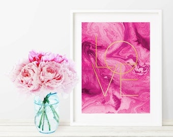 Printable Fuchsia Marble Love Faux Gold Art Print - Instant Digital Download