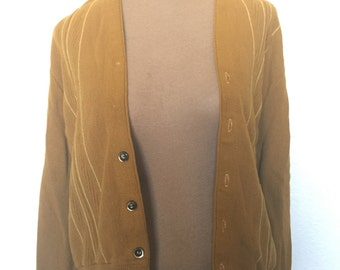 Vintage 50s Mustard Yellow Cardigan Sweater Grunge Grandpa