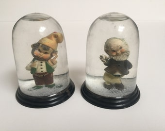 2 Whimsical Vintage Gnome Snow Globes