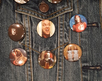 STEPHEN KING, Misery, The Shining, Carrie, IT, Cujo, Buttons, Pins, Magnets,1.25 inch, high quality