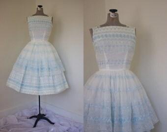 1950s Tiered Skirt A-Line Dress // Vintage Prom Dress // 50s Dress // Vintage 50s