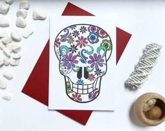 Mexican Sugar Skull Greeting Card, Sugar Skull illustration, gems, A6