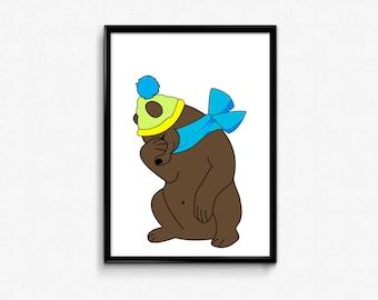 Nursery decor,nursery bear print,nursery bear decor,nursery animal print,nursery printables,bear illustration,bear room decor