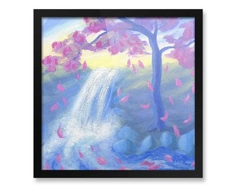 "Framed Cherry Blossom Poster Print, Painting with Sakura & Pink Leaves Falling in River, 10x10"", 12x12"""