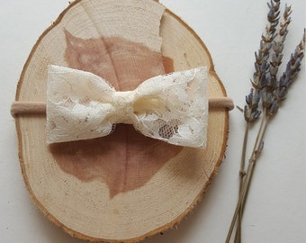 Ivory Floral Lace Bow Headband or Clip