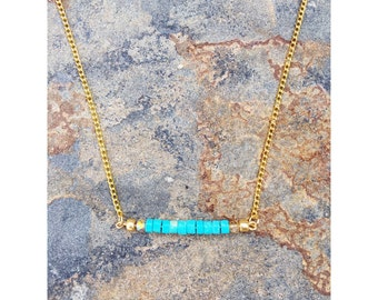 Teal Bar Necklace | Gemstone Bar Necklace | Bar Necklace| Teal Necklace
