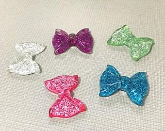Kawaii glitter bow cabochons
